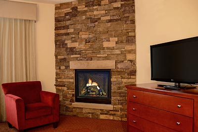 Cozy fireplace suite at the Penn Wells Lodge in Wellsboro, PA
