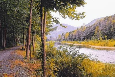Scenic view of a river with trees in foreground
