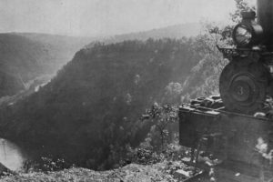 A Shay locomotive from the Leetonia lumber railroad and the nearly clearcut PA Grand Canyon.