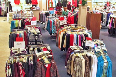 Sale racks at Dunham's Department store in Wellsboro, PA