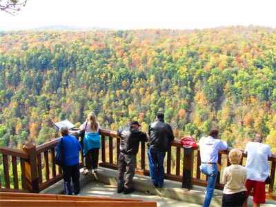 Visitors enjoy beautiful views of the PA Grand Canyon from Leonard Harrison State Park overlooks.
