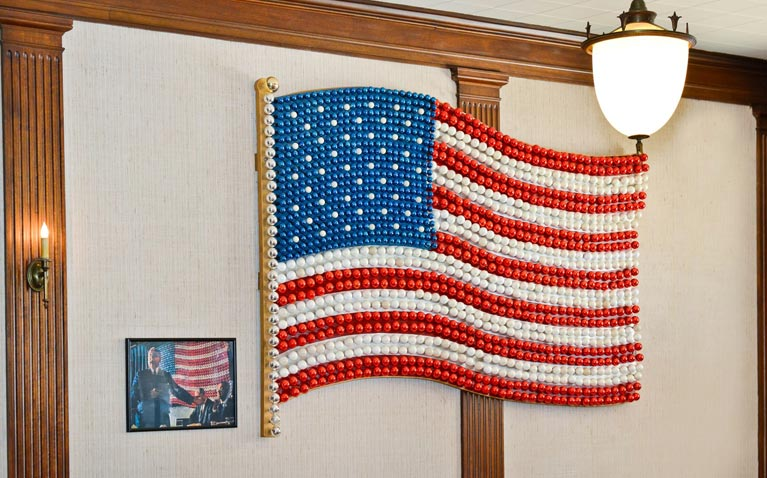 Historic United States flag made of glass bulbs